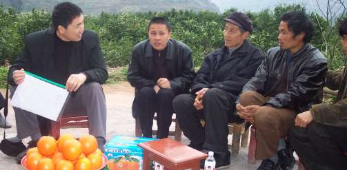 A group of Chinese farmers selling oranges in contract in 2005 (image is author's own)